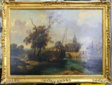 19th C CONTINENTAL LARGE OIL PAINTING ON CANVAS