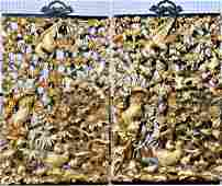 Pr VINTAGE CHINESE CARVED GILT WOODEN WALL PLAQUE