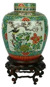 ANTIQUE CHINESE FAMILLE VERTE PORCELAIN GINGER JAR