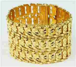 ESTATE 18KT Y GOLD WIDE BAND RETICULATED BRACELET