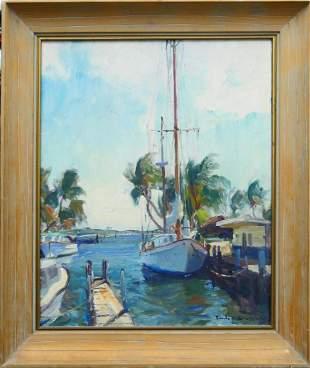 EMILE GRUPPE FLORIDA DOCK PAINTING 1896-1978