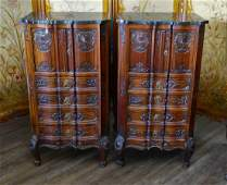 Pr FINE BELGIAN MARBLE TOP CARVED WOODEN CHESTS