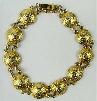 CHINESE STYLE 14KT Y GOLD GONG BRACELET