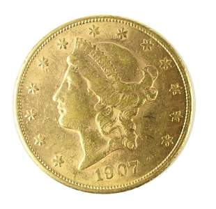 1907 S  $20 LIBERTY GOLD PIECE DOUBLE EAGLE