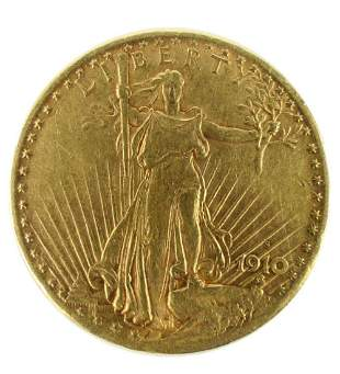 1910 ST GAUDENS DOUBLE EAGLE $20 GOLD COIN