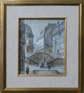HENRY GASSER  (NJ  1909-1981 ) WATERCOLOR OF PARIS