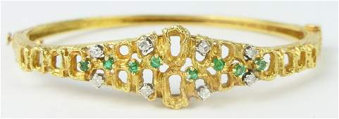 18KT YELLOW GOLD EMERALD & DIAMOND LADIES BRACELET