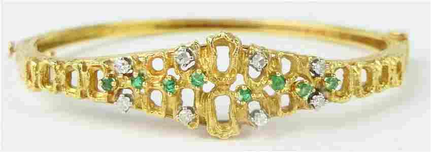18KT YELLOW GOLD EMERALD & DIAMOND LADIES BRACELET