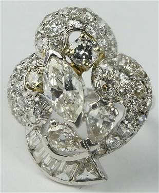 DECO STYLE 4 CT DIAMOND & PLATINUM COCKTAIL RING