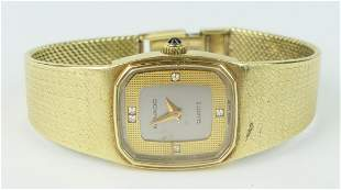 MOVADO LADIES 14KT Y GOLD WATCH & BAND W/ DIAMONDS