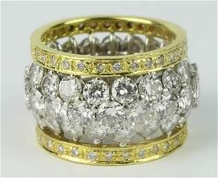 EXQUISITE 4CT DIAMOND 18KT Y GOLD WEDDING BAND
