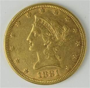 1881  US $10 GOLD PIECE A U CONDITION