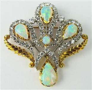 CASBAH 18KT Y GOLD OPAL & DIAMOND BROOCH