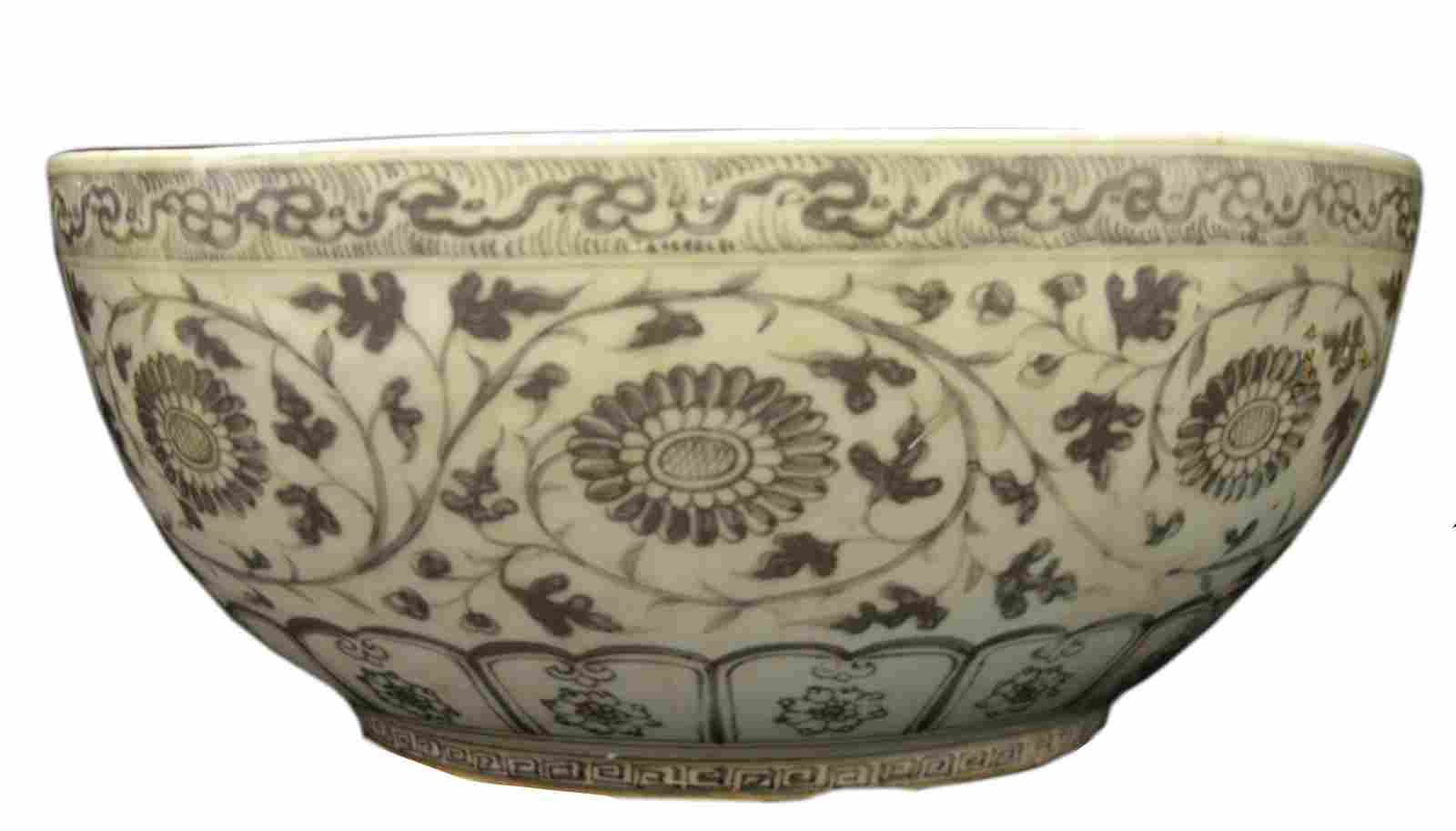 LARGE CHINESE RED GLAZED PEACH BLOOMS BOWL