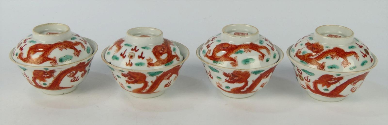 4 ANTIQUE CHINESE RUST DRAGON TEACUPS w SAUCERS