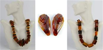 LOT OF 3 VINTAGE GENUINE AMBER JEWELRY ITEMS