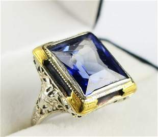 ANTIQUE EMERALD CUT 6 CT SAPPHIRE SOLITAIRE RING