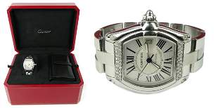 CARTIER GENTS ROADSTER XL WATCH WITH DIAMONDS BOX