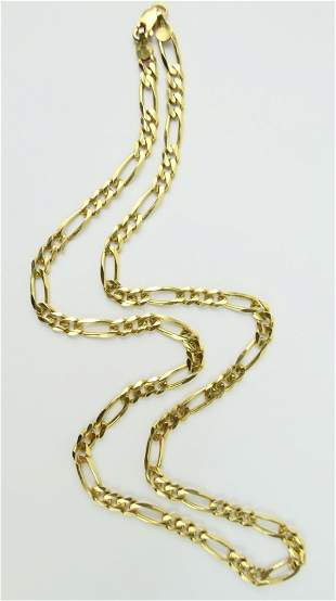 GENTS GORGEOUS 14KT YELLOW GOLD FIGARO NECKLACE