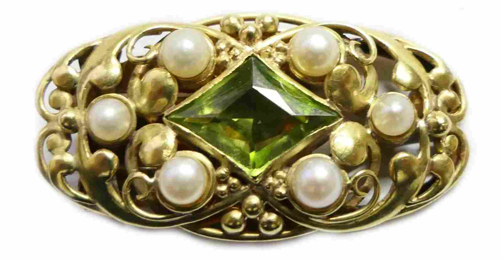 ARTS & CRAFTS F.G.HALE 18KT Y.GOLD PERIDOT CLIP