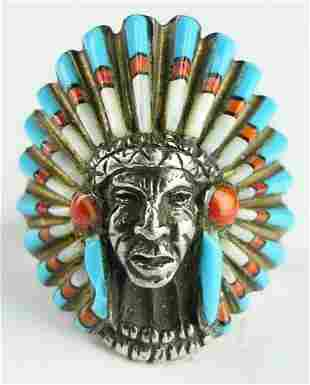 NATIVE AMERICAN STERLING INDIAN CHIEF RING