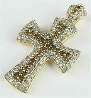 10 KT 2 TONE GOLD DIAMOND CROSS PENDANT
