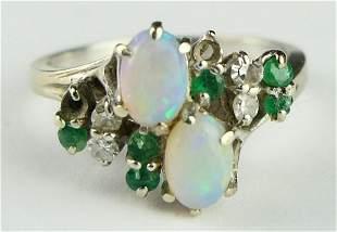 LADIES 14KT WHITE GOLD OPAL EMERALD DIAMOND RING