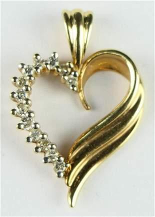 14KT YELLOW GOLD 13 DIAMOND HEART PENDANT