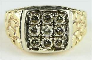 GENTS HEAVY GOLD AND 9 DIAMOND PINKY RING