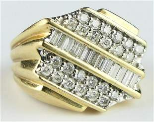 GENTS LARGE 38 DIAMOND GOLD RING