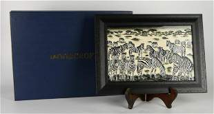 MOORCROFT POTTERY PLAQUE DEPICTING ZEBRA