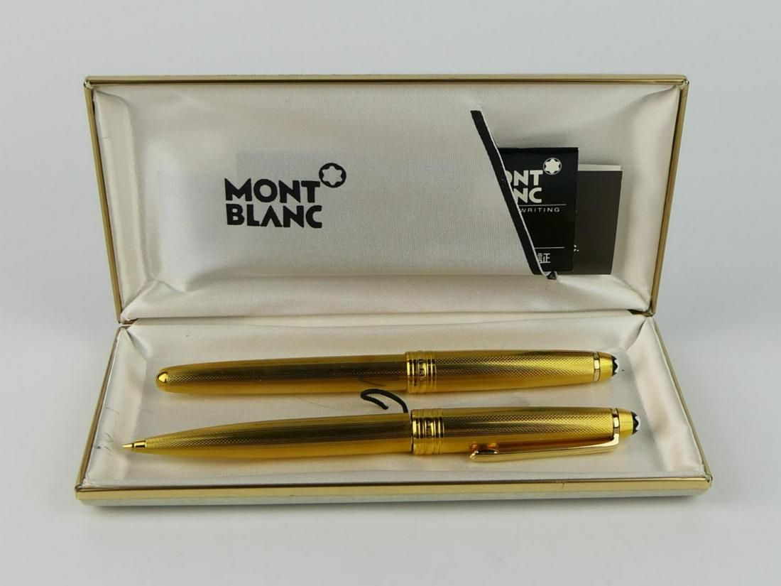 MONTE BLANC MEISTERSTUCK GOLD TONE PEN/PENCIL SET