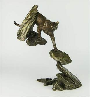 "MARK HOPKINS BRONZE SCULPTURE ""COUGAR IN ROCKS"""