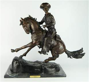 AFTER FREDERICK REMMINGTON TITLED COWBOY SCULPTURE