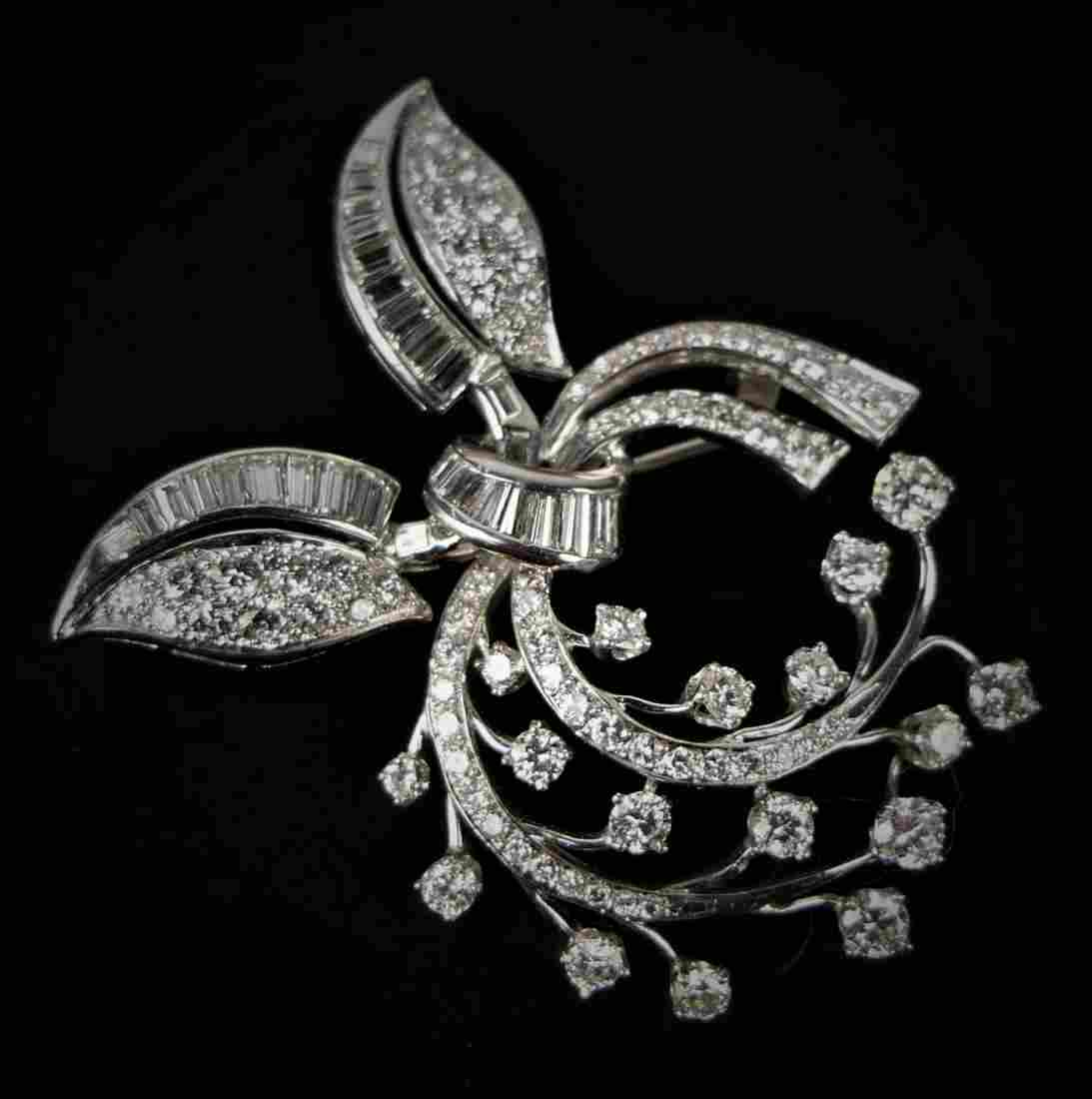 ORIGINAL DECO DIAMOND & PLATINUM LARGE BROOCH
