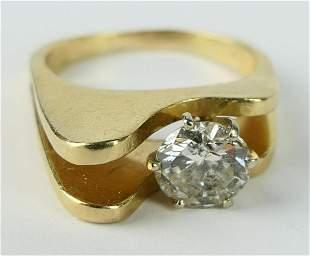 VINTAGE RETRO .40CT DIAMOND  & 14KT G  FUNKY  RING