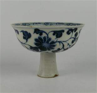 CHINESE YUAN DYNASTY BLUE & WHITE STEM CUP