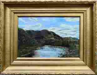 19th CENTURY LANDSCAPE OIL PAINTING ON CANVAS