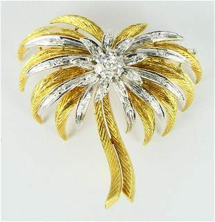 EXTRAORDINARY 18KT Y GOLD 25 DIAMOND PALM TREE PIN