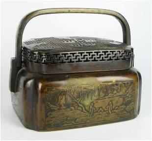 CHINESE BRONZE 19TH CENTURY CRICKET BOX
