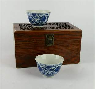 PAIR OF CHINESE BLUE & WHITE WINE CUPS