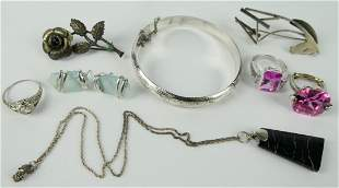 LARGE LOT OF HIGH END STERLING COSTUME JEWELRY