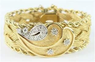 VINTAGE 14KT YELLOW GOLD DIAMOND WATCH BRACELET
