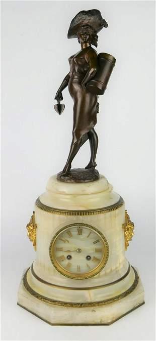 19TH C. FIGURAL BRONZE & MARBLE DESK CLOCK