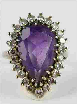 14KT WHITE GOLD DIAMOND AND AMETHYST LADIES RING