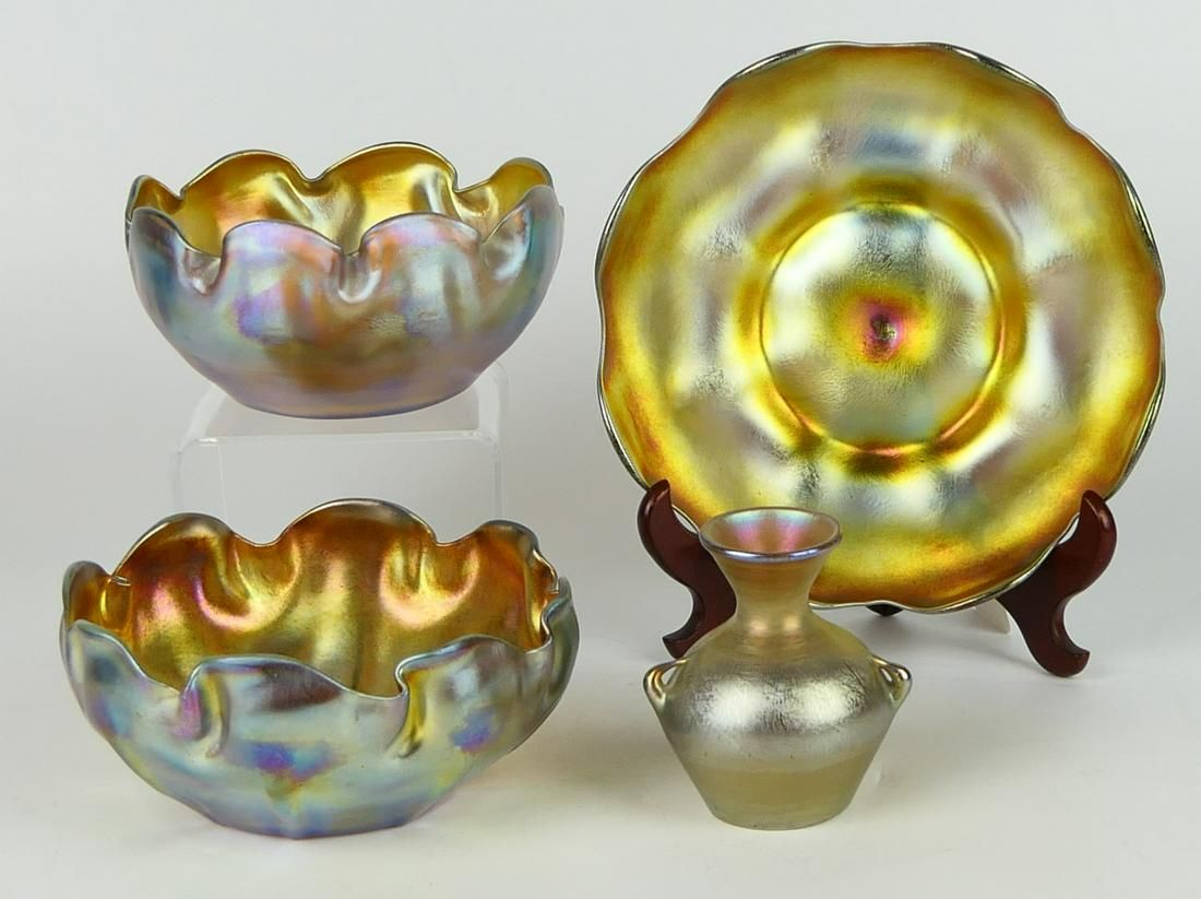 4 PIECES TIFFANY FAVRILLE  INCLUDING RARE BUD VASE