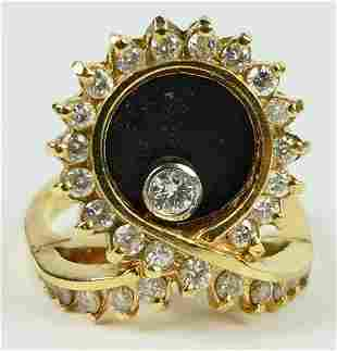 CHOPARD 18 KT YG  DIAMOND & FLOATING DIAMOND RING