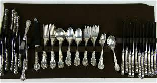 REED & BARTON BURGANDY 84 PIECE STERLING FLATWARE