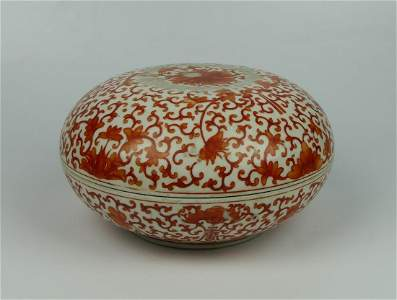 CHINESE KANGXI RUST RED COVERED LOTUS BATS BOX