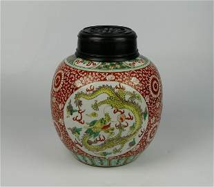 CHINESE FAMILLE VERTE RUST GROUND DRAGONS VASE